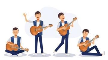 conjunto de homem com violão. um homem tocando violão. vetor