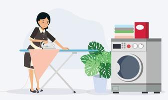 empregada está passando roupas. conceito de trabalho doméstico, vetor