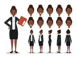 empresária afro-americana com vários pontos de vista, vetor