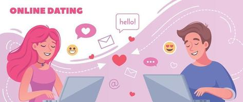 composição de desenho animado de namoro virtual vetor