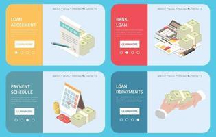 conceito isométrico online de empréstimo bancário vetor