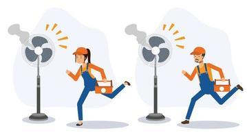 serviço de reparo rápido concept.repair eletrodomésticos elétricos, ventilador. vetor