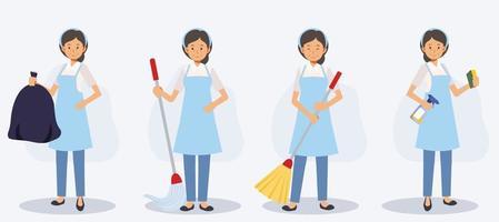 conjunto de limpadora feminina em várias ações, varrendo, esfregando vetor