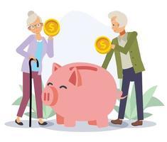 velho e mulher economizando o conceito de dinheiro, aposentar-se a vida. vetor