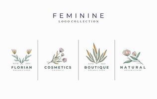 conjunto de modelo de logotipo botânico feminino lindo vetor