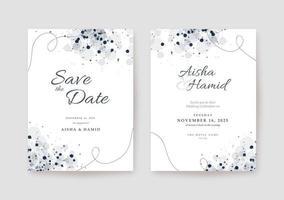 modelo de cartão de casamento branco limpo e elegante vetor