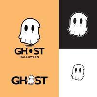 fantasia de fantasma com ilustrações gráficas de vetores personagem fofinho de halloween