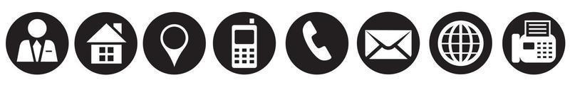 contacte-nos conjunto de ícones, símbolo de telefone, comunicação e website vetor