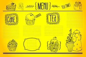 chá e doces - coleção de rabiscos vetor