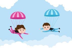 esporte de paraquedismo de recreação de atividades ao ar livre usando vetor de pára-quedas