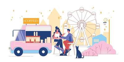 composição da van do café do parque de diversões vetor