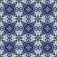 Azul ornamento azulejos portugueses tradicionais. Padrão sem emenda Oriental vetor