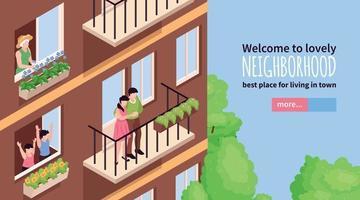 banner isométrico de vizinhos vetor