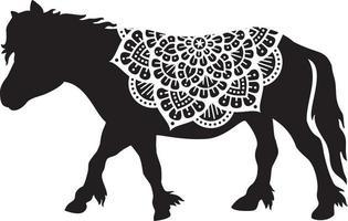 ícone de pônei de mandala vetor