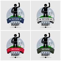 Design de logotipo de clube de rugby. vetor