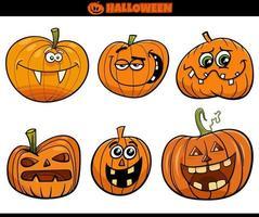 desenho animado de abóboras de halloween ou conjunto jack'o'lantern vetor