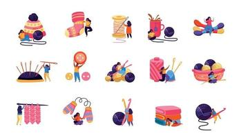 conjunto de ícones de passatempo de tricô vetor