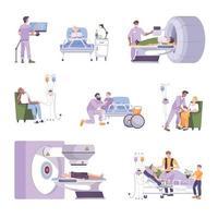 conjunto plano de oncologia vetor