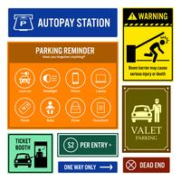 Sinais da informação do parque de estacionamento. vetor
