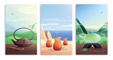 conjunto plano de cartões de chá natural vetor