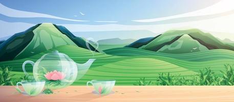 composição plana de produção de chá natural vetor