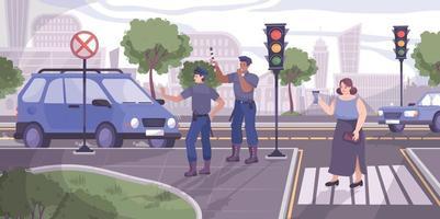 ilustração da polícia de trânsito vetor