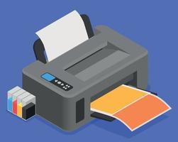 composição isométrica de impressora colorida vetor