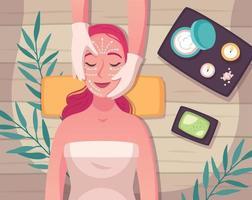 composição de desenho animado para cuidados com a pele vetor