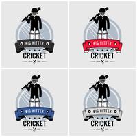 Design de logotipo de clube de críquete. vetor