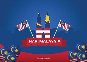 Papel de parede do dia da Malásia com decoração de torres gêmeas e balões vetor