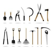 Conjunto de ferramentas de jardinagem.