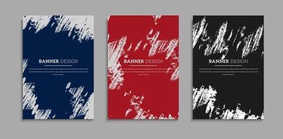 conjunto de design de capa de textura grunge bagunçado vetor