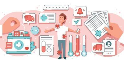 conceito de medicina online plana vetor