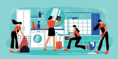ilustração plana de serviço de limpeza vetor