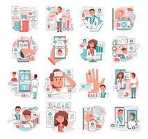 conjunto plano de medicina online vetor