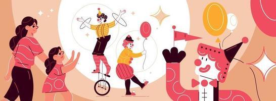 composição de parque de diversões de palhaços de circo vetor