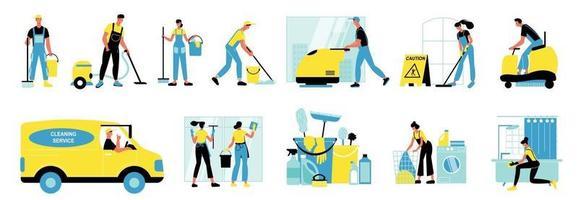 conjunto de ícones isolados de serviço de limpeza vetor