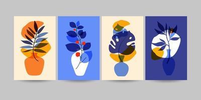 conjunto de composições com folhas. colagem da moda. vetor