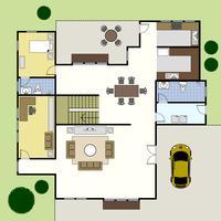 Casa do plano da arquitetura de planta baixa. vetor