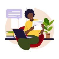 conceito de aprendizagem online. professor africano. vetor