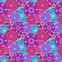 Padrão sem emenda cigano de mandalas redondas multicoloridas abstratas. Origem étnica vetor