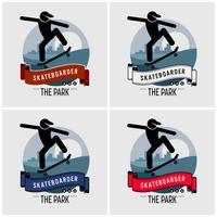 Design de logotipo de clube de skatista. vetor