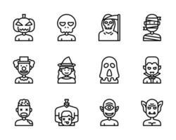 ícone de contorno de avatar de halloween e símbolo para site, aplicativo vetor