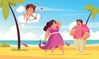 amor praia composição de cupido vetor