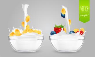Cereal com leite e frutas. Conceito de pequeno-almoço.