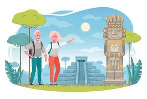 desenhos animados de viagens para idosos vetor
