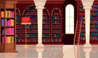 composição da biblioteca de livros vintage vetor
