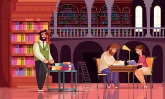 composição de livro antigo bibliotecário vetor