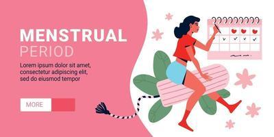 banner horizontal do período menstrual vetor