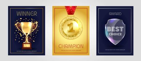 Design de cartaz de vetor para vencedor, campeão e prêmio de melhor escolha.